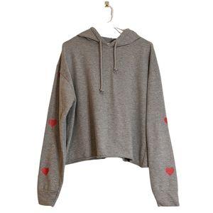Basic by design grey heart hoodie sweatshirt L